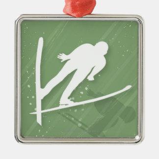 Two Men Ski Jumping Christmas Ornament