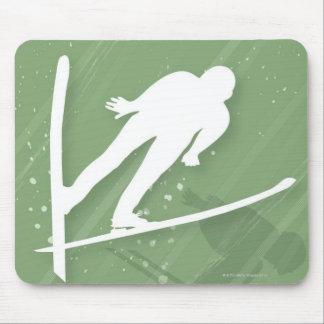 Two Men Ski Jumping Mouse Mat