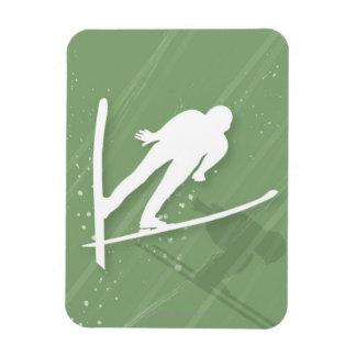 Two Men Ski Jumping Rectangular Photo Magnet