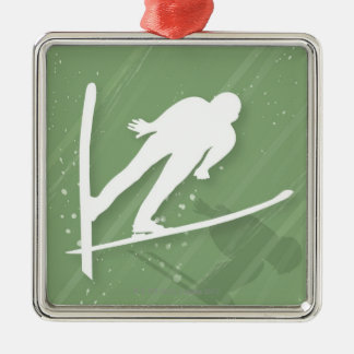 Two Men Ski Jumping Silver-Colored Square Decoration