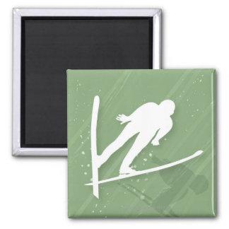 Two Men Ski Jumping Square Magnet