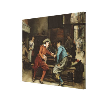 Two Men Talking in a Tavern Canvas Print