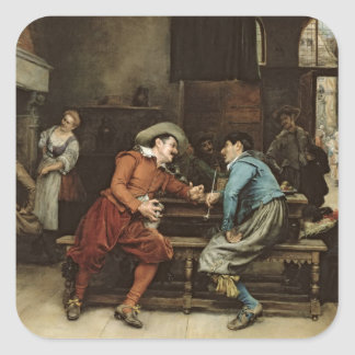 Two Men Talking in a Tavern Square Sticker