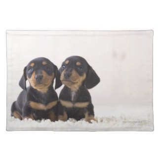 Two Mini Dachshund Sitting Placemat