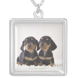 Two Mini Dachshund Sitting Silver Plated Necklace