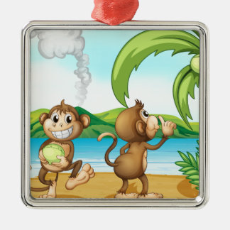 Two monkeys at the beach Silver-Colored square decoration