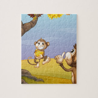 Two monkeys beside the big tree jigsaw puzzles