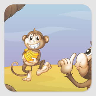 Two monkeys beside the big tree square sticker