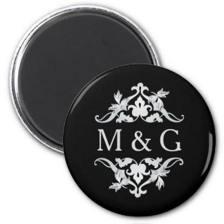 Two Monograms with Scrollwork and Leaves A21 6 Cm Round Magnet