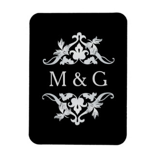 Two Monograms with Scrollwork and Leaves A22 Rectangular Photo Magnet