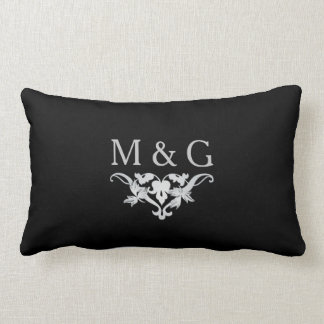 Two Monograms with Scrollwork and Leaves A24B Lumbar Cushion