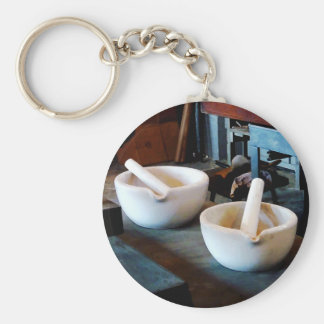 Two Mortars and Pestles in Lab Basic Round Button Key Ring