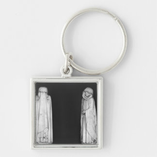 Two Mourners Silver-Colored Square Key Ring