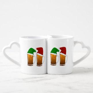 Two Mugs of Christmas Beer Cheer Couple Mugs