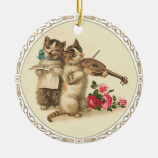 Two Musical Kittens Sing and Play Violin Christmas Ornament