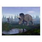 Two nedoceratops/diceratops dinosaurs walking poster