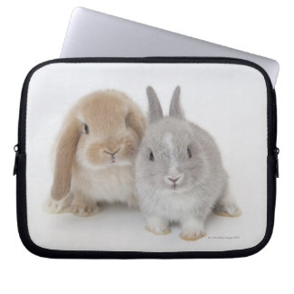 Two Netherland Dwarf and Holland Lop bunnies Laptop Sleeve