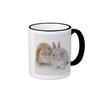 Two Netherland Dwarf and Holland Lop bunnies Ringer Mug