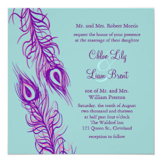 Two of a Kind Peacock Feathers 13 Cm X 13 Cm Square Invitation Card