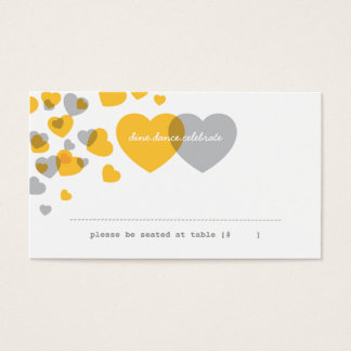 Two of Hearts Escort Card - Yellow & Gray