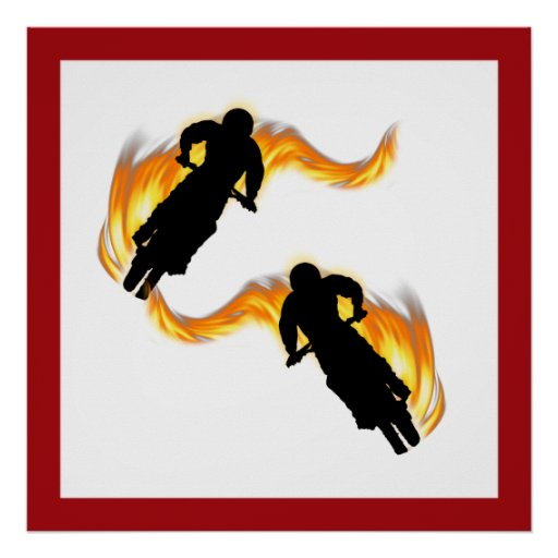 Two Off Road Dirt Bikes with Flames Print