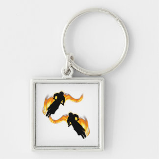Two Off Road Dirt Bikes with Flames Silver-Colored Square Key Ring