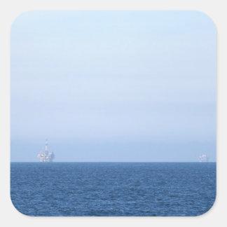 Two Oil Rigs Square Sticker