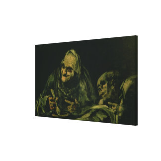 Two Old Men Eating Canvas Print