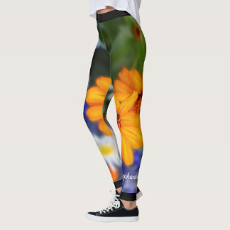 Two Orange Daisies with Personalized Name Leggings