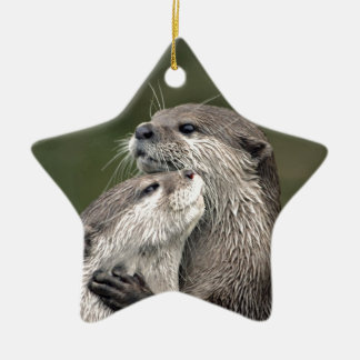 Two Otters Christmas Ornament