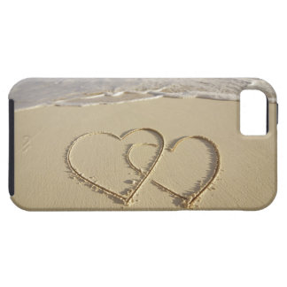 Two overlying hearts drawn on the beach iPhone 5 case