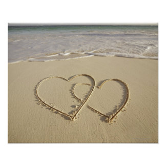 Two overlying hearts drawn on the beach poster