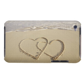 Two overlying hearts drawn on the beach with barely there iPod cover