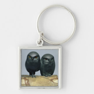 Two Owls, 1903-04 Silver-Colored Square Key Ring