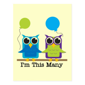 Two Owls I'm This Many Birthday Tshirts Postcard
