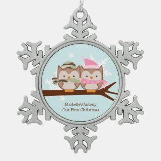 Two Owls Military Themed Christmas Pewter Snowflake Decoration