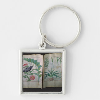 Two pages depicting Rose and Garlic Silver-Colored Square Key Ring