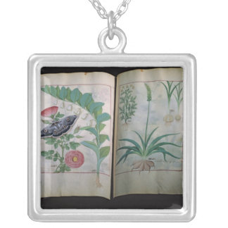 Two pages depicting Rose and Garlic Silver Plated Necklace