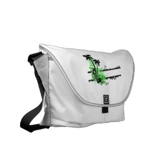 Two palm green black floral w stripe commuter bag