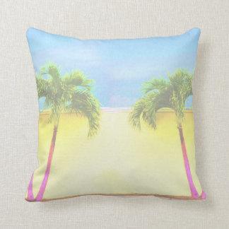 Two Palm Retro Trees Sky Faded Cushion