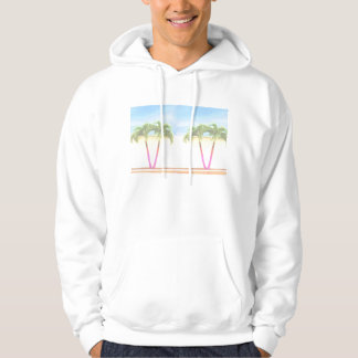 Two Palm Retro Trees Sky Faded Hooded Sweatshirts