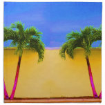 Two Palm Retro Trees Sky Yellow