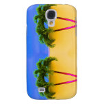 Two Palm Retro Trees Sky Yellow Galaxy S4 Case