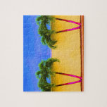 Two Palm Retro Trees Sky Yellow Jigsaw Puzzles