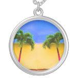 Two Palm Retro Trees Sky Yellow Round Pendant Necklace