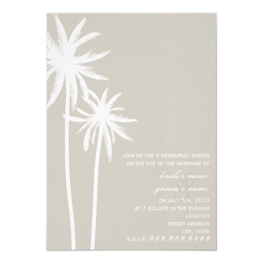 Two Palm Trees Wedding Rehearsal Dinner Card
