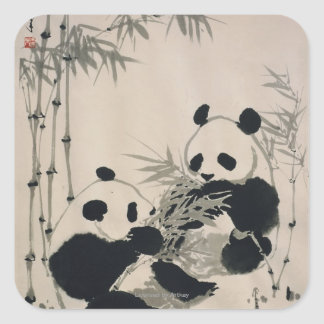 Two Pandas Square Sticker