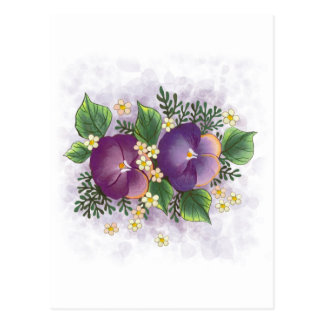Two Pansies ... Thinking of you! Postcard