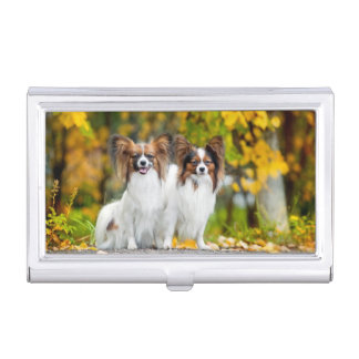 Two Papillon dogs in autumn Business Card Holder