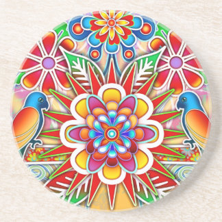 Two Parrots and Flowers Bird Art Coaster